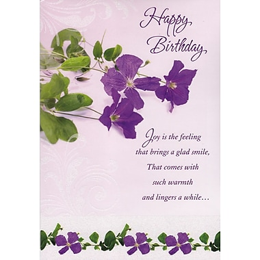 Greeting Cards, Happy Birthday, Purple Flowers, 18/Pack