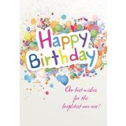 Cartes de souhaits, «Happy Birthday», ballons et confettis, paquet de 18