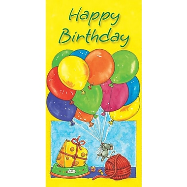 Money Holder Cards, Happy Birthday, Balloons, 18/Pack