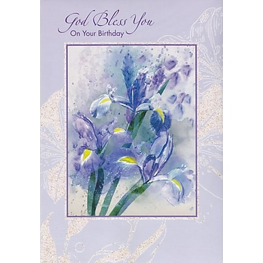 Greeting Cards, God Bless You On Your Birthday, Purple Flowers, 18/Pack