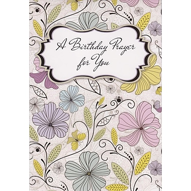 Cartes de souhaits, « A Birthday Prayer for You », fleurs pastel, 18/paquet