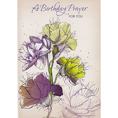 Cartes de souhaits, « A Birthday Prayer for You », motif floral, 18/paquet