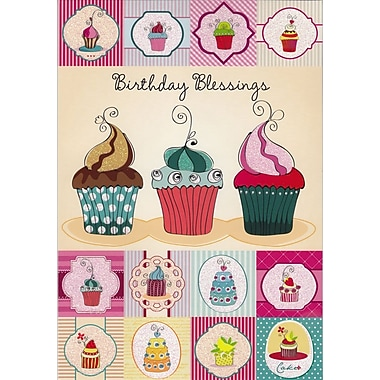 Greeting Cards, Birthday Blessings, Cupcakes, 18/Pack