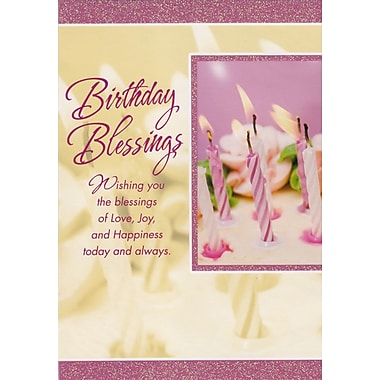Greeting Cards, Birthday Blessings, Candles, 18/Pack