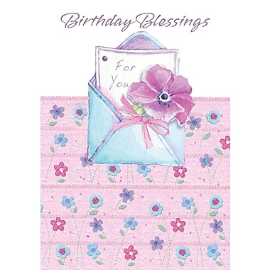 Greeting Cards, Birthday Blessings, Pink, 18/Pack