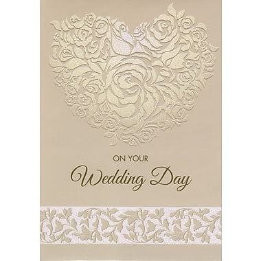 Cartes de souhaits, « On Your Wedding Day », beige, 18/paquet