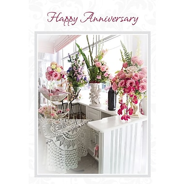 Greeting Cards, Happy Anniversary, Flowers, 18/Pack