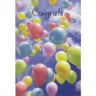 Greeting Cards, Congrats, Balloons/Clouds, 18/Pack