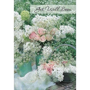 Cartes de souhaits, Prompt rétablissement, fleurs, 18/paquet