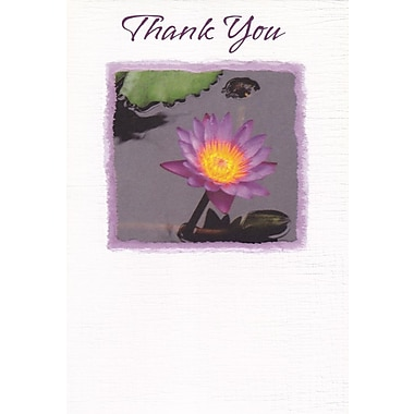 Greeting Cards, Thank You, Purple Lily, 18/Pack