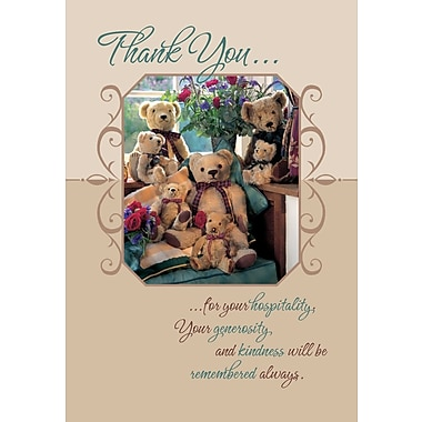 Greeting Cards, Thank You For Your Hospitality, Teddy Bears, 18/Pack