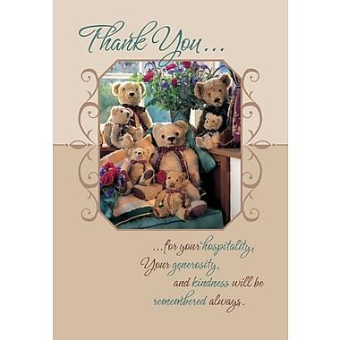 Cartes de souhaits, Merci pour votre hospitalité, oursons, 18/paq.