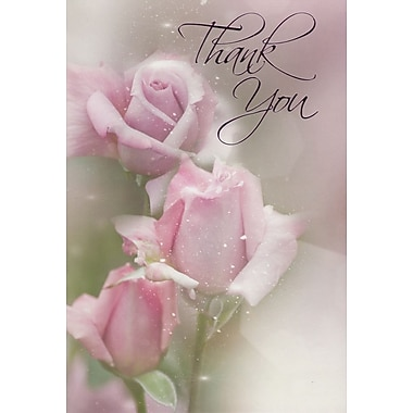 Greeting Cards, Thank You, Pink Roses, 18/Pack