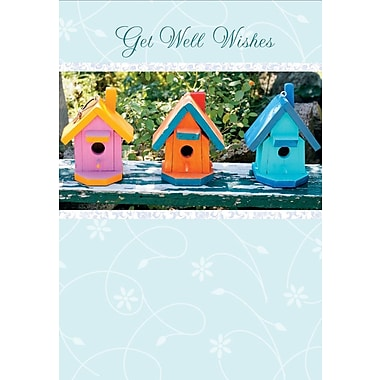 Greeting Cards, Get Well Wishes, Birdhouses, 18/Pack
