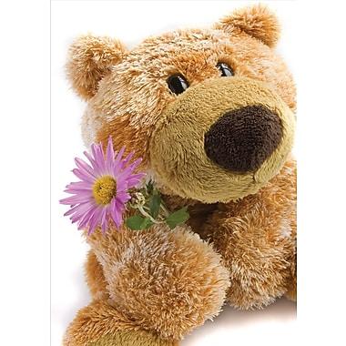 Cartes de souhaits, vierges, ourson en peluche tenant une fleur, 18/paquet