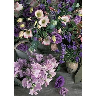Cartes de souhaits, vierges, fleurs, 18/paquet