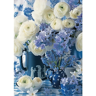 Greeting Cards, Blank Inside, White & Blue Flowers, 18/Pack