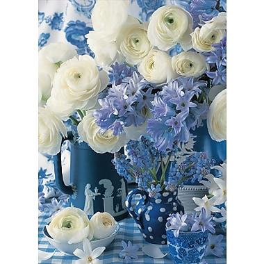 Cartes de souhaits, vierges, fleurs blanches et bleues, 18/paquet
