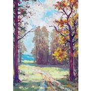 Cartes de souhaits, intérieur vierge, peinture à l'huile d'une forêt, paquet de 18