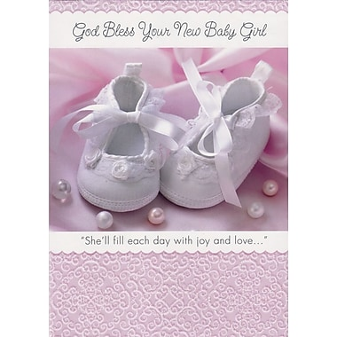 Greeting Cards, God Bless Your New Baby Girl, 18/Pack