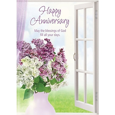 Greeting Cards, Happy Anniversary, Lavender Flowers, 18/Pack