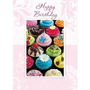 A-Line – Cartes de souhaits, « Happy Birthday », cupcakes, 18/paquet