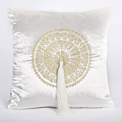 Debage Inc. Tudor Velvet Throw Pillow; White