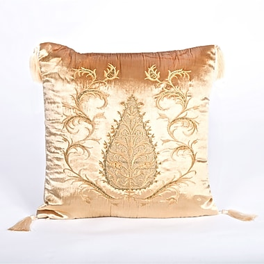 Debage Inc. Tudor Climbing Acorn Velvet Throw Pillow; Light Gold