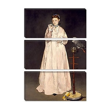 iCanvas 'Woman w/ Parrot' by Edouard Manet Framed Painting Print on Wrapped Canvas