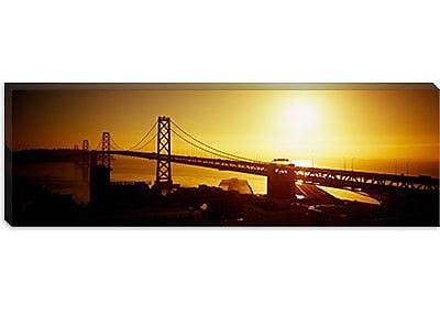 iCanvas Panoramic Sunset Bay Bridge, San Francisco, California Photographic Print on Canvas