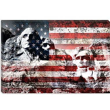 iCanvas USA Flag Mount Rushmore Graphic Art on Canvas; 26'' H x 40'' W x 0.75'' D
