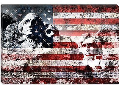 iCanvas USA Flag Mount Rushmore Graphic Art on Canvas; 18'' H x 26'' W x 0.75'' D