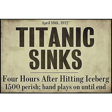 iCanvas Titanic Textual Art on Canvas; 12'' H x 18'' W x 1.5'' D