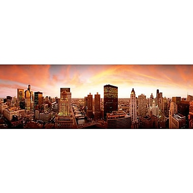 iCanvas Panoramic Sunset Skyline Chicago, Illinois Photographic Print on Wrapped Canvas