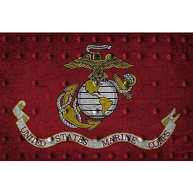 iCanvas Flags U.S. Marine Grunge Metal Rivets Graphic Art on Canvas; 40'' H x 60'' W x 1.5'' D