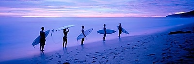 iCanvas Panoramic Surfers on Beach Costa Rica Photographic Print on Wrapped Canvas