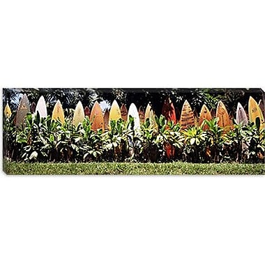 iCanvas Panoramic Surfboard Fence in a Garden, Maui, Hawaii Photographic Print on Wrapped Canvas