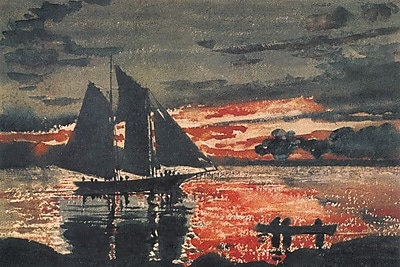 iCanvas 'Sunset Fires 1880' by Winslow Homer Painting Print on Wrapped Canvas