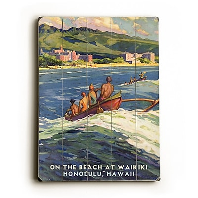 Artehouse LLC On the Beach Waikiki Vintage Advertisement Plaque
