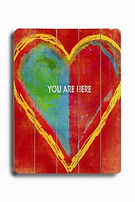 Artehouse LLC Heart-You Are Here Planked Graphic Art Plaque
