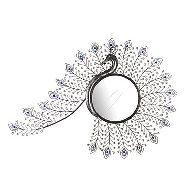 Hazelwood Home Peacock Inspired Wall Mirror; Black / Siver
