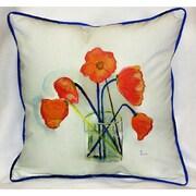 Betsy Drake Interiors Garden Poppies in Vase Indoor/Outdoor Throw Pillow