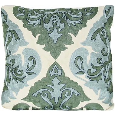 Design Accents Arabic Damask Throw Pillow; Green
