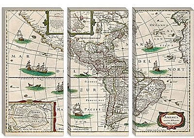 iCanvas Antique Map 'Map of the Americas (Hondius, Henricus 1631)' Graphic Art on Canvas