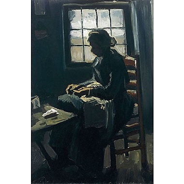 iCanvas 'Woman Sewing' by Vincent Van Gogh Painting Print on Canvas; 26'' H x 18'' W x 1.5'' D