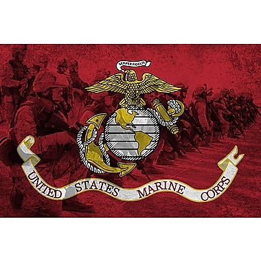 iCanvas Flags U.S. Marine Modern Soldiers Graphic Art on Wrapped Canvas; 18'' H x 26'' W x 0.75'' D
