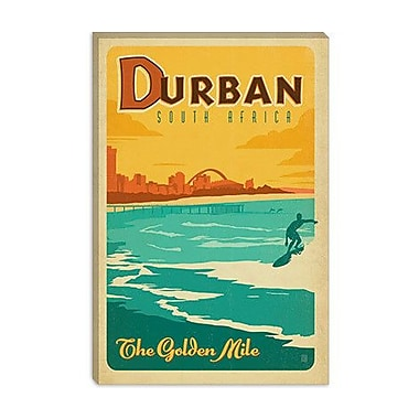 'The Golden Mile - Durban, South Africa' by Anderson Design Group Vintage Advertisement on Canvas