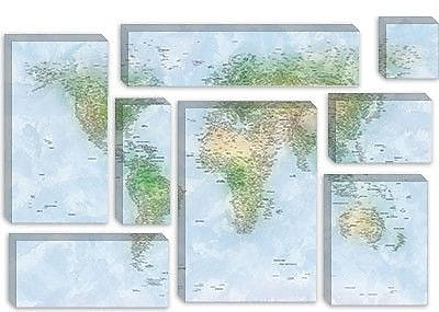 iCanvas 'World Map VI' by Michael Tompsett Graphic Art on Canvas; 12'' H x 18'' W x 0.75'' D