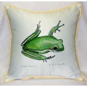 Betsy Drake Interiors Garden Treefrog Indoor/Outdoor Throw Pillow