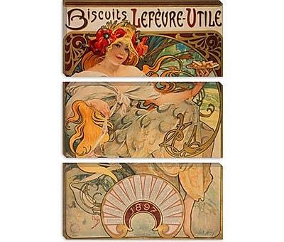 iCanvas 'Biscuits Lefevre Utile' by Alphonse Mucha Vintage Advertisement on Canvas